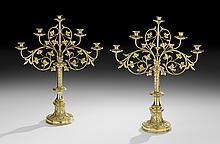 Pair of English Bronze Five-Light Candelabra