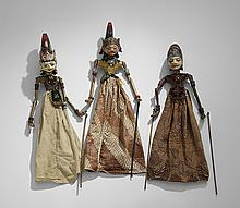 Three Balinese Carved and Painted Puppets