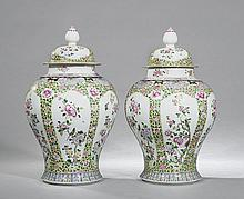 Pair of Chinese Porcelain Lidded Urns