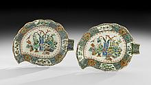 Pair of Chinese Export Porcelain Pickle Leaves