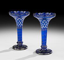 Pair of Bohemian Overlay Glass Garniture Vases