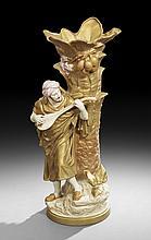 Monumental Royal Dux Figural Porcelain Vase