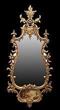 Italian-Style Giltwood Mirror with Scenic Panel