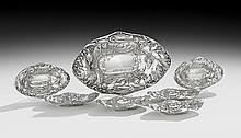 Seven-Piece Sterling Art Nouveau Nut Dish Set
