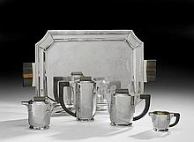 Five-Piece Art Deco .800 Silver and Ebony Tea Set