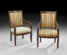 Pair of Restauration Mahogany Fauteuils