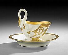 French Biscuit Swan-Form Cabinet Cup and Saucer