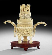 Chinese Carved and Pierced Ivory Censer