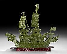 Chinese Hardstone Model of a Dragon Ship