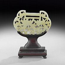 Chinese Carved Jade Plaque with Wooden Stand