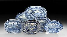 Five Staffordshire Platters and a Tureen Stand