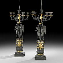 Pair of French Restauration Bronze Candelabra