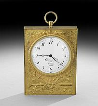 Courvoisier Freres Gilt-Bronze Presentation Clock