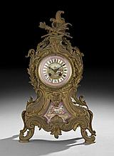 French Gilt-Metal and Porcelain Mantel Clock