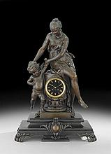 Napoleon III Marble and Metal Figural Clock