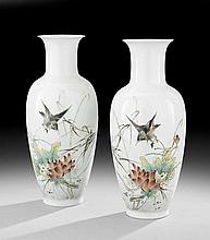 Pair of Chinese Porcelain Bird and Flower Vases