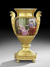 Fine Paris Porcelain Hand-Painted Garniture Urn