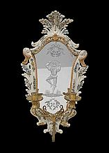 Rare Venetian Faience Mirrored Sconce