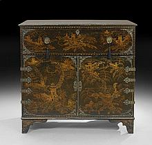 George III-Style Ebonized Secretary Cabinet