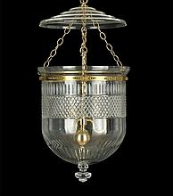 Regency-Style Cut Glass and Brass Hall Lantern