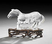 Chinese Rock Crystal Figure of a Horse on Stand