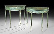 Pair of Italian Polychrome Demi-lune Side Tables