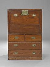 Korean Brass-Mounted Persimmon Wood Secretary