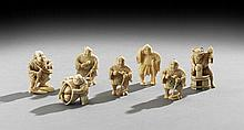 Seven Japanese and Bone Ivory Netsuke