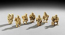 Seven Japanese Ivory and Bone Netsuke