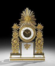 Louis XVI Bronze Dore and Marble Mantel Clock