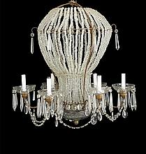 French Hot Air Balloon-Form Six-Light Chandelier