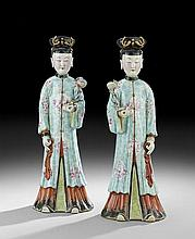 Pair of Chinese Export Porcelain Court Ladies