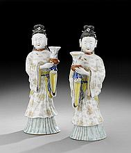 Pair of Chinese Porcelain Female Immortals