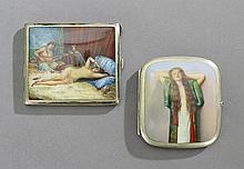 Two German Erotic Enamel Cigarette Cases