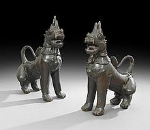 Pair of Large Thai Bronze Singha