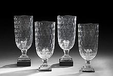 Set of Four Cut Crystal Hurricane Lamps