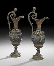 Pair of Renaissance Revival-Style Bronze Ewers