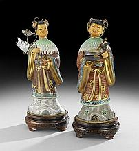 Pair of Chinese Ivory and Cloisonne Beauties