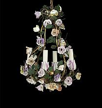 Enameled Metal and Porcelain Chandelier