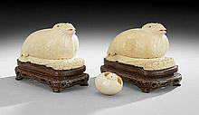 Pair of Chinese Quail and Millet Incense Boxes