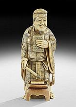 Japanese Carved Ivory Figure of a Scholar