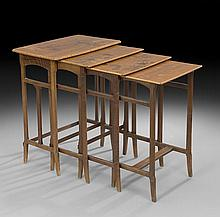 Suite of Four Art Nouveau Mahogany Nesting Tables