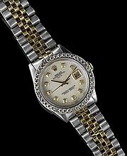 Men's Stainless and 14 Kt. Gold Rolex Date Watch