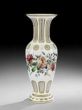 Bohemian Cut & Enameled Glass Garniture Vase