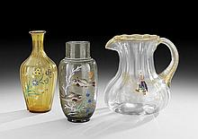 Three Pieces of Bohemian Enameled Art Glass