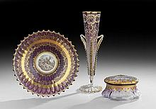 Three-Piece Collection of Moser Mauve Art Glass