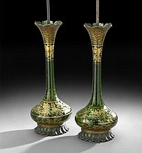 Pair of Bohemian Glass Bottle Vases
