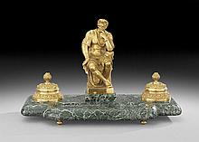French Belle Epoque Gilt-Bronze & Marble Encrier