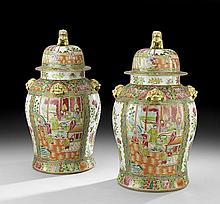 Pair of Chinese Rose Medallion Lidded Vases