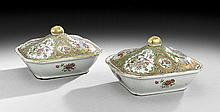 Pair of Chinese Export Porcelain Covered Dishes